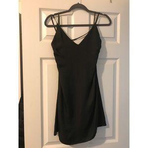 Dark olive mini dress.